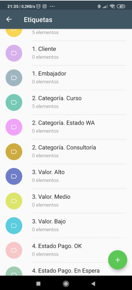 Las etiquetas de WhatsApp Business